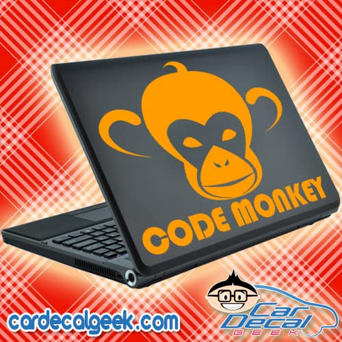 Code Monkey Laptop Decal Sticker