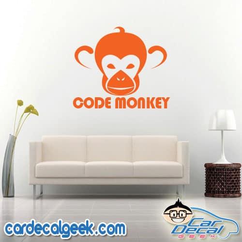Code Monkey Wall Decal Sticker