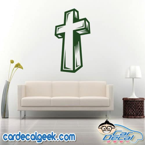 Awesome Religious Cross Wall Decal Sticker
