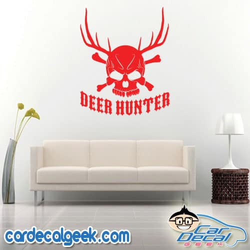 Deer Hunter Skull Wall Decal Sticker