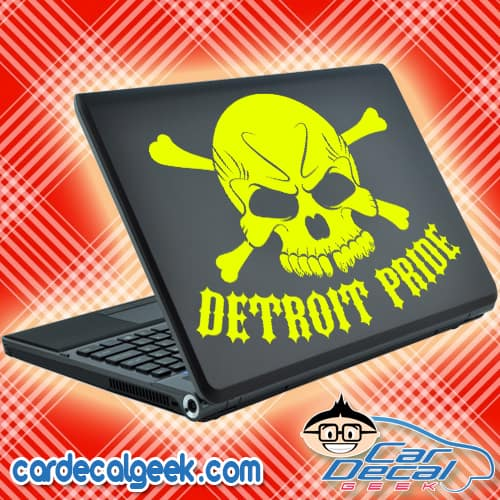 Detroit Pride Skull Laptop Decal Sticker