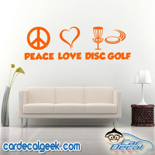 Peace Love Disc Golf Wall Decal Sticker