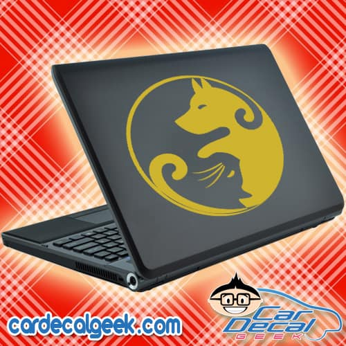 Dog and Cat Yin Yang Laptop Decal Sticker