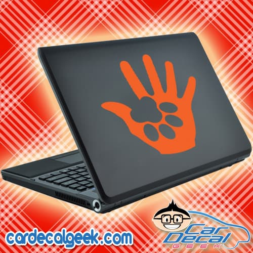 Dog Paw in Human Hand Laptop Decal Sticker