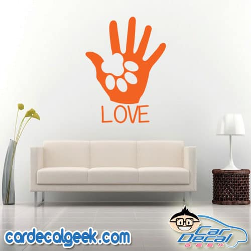 Dog Paw Puppy Love Wall Decal Sticker