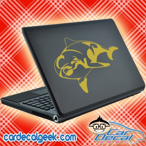Awesome Dolphin Laptop Decal Sticker