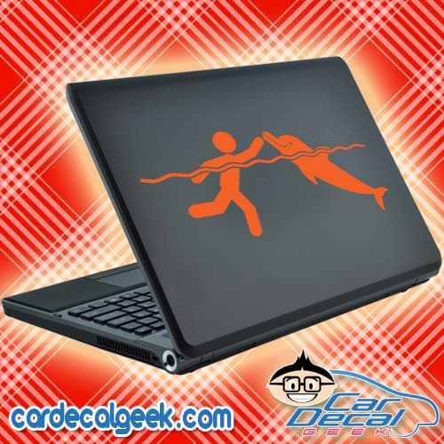 Swimming With Dolphins Laptop Decal Sticker