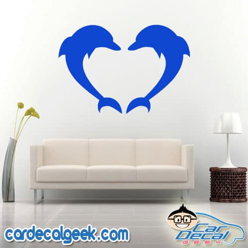 Dolphins Forming a Heart Wall Decal Sticker