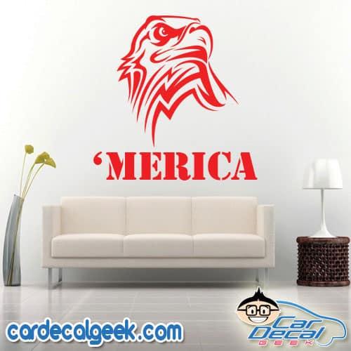 Awesome USA 'Merica Eagle Head Wall Decal Sticker