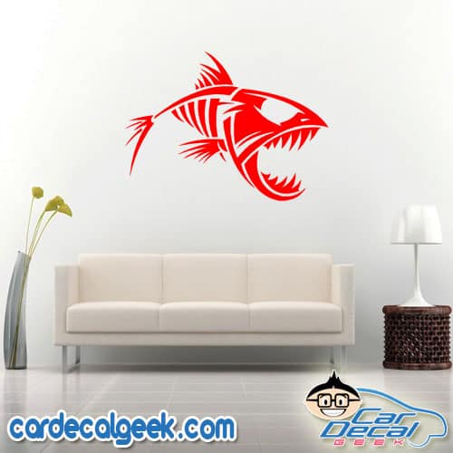 Bad-Ass Fish Skeleton Wall Decal Sticker