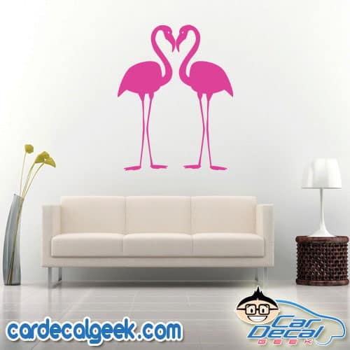 Twin Flamingos Wall Decal Sticker