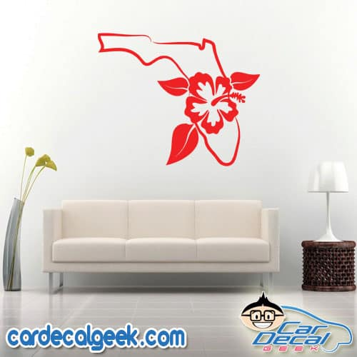 Florida Tropical Hibiscus Flower Wall Decal Sticker