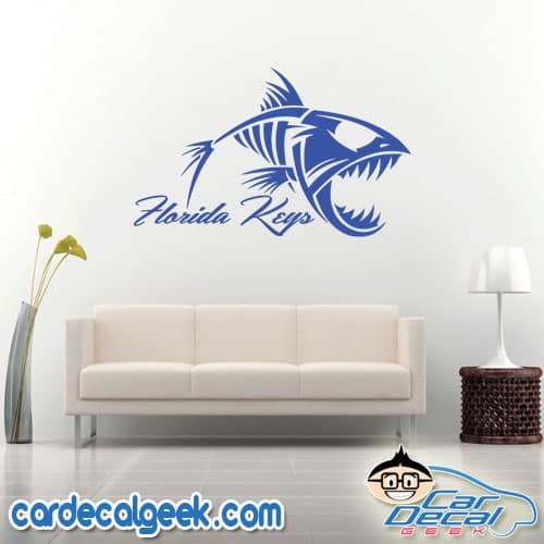 Florida Keys Fish Skeleton Wall Decal Sticker