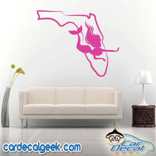 Florida Mermaid Wall Decal Sticker