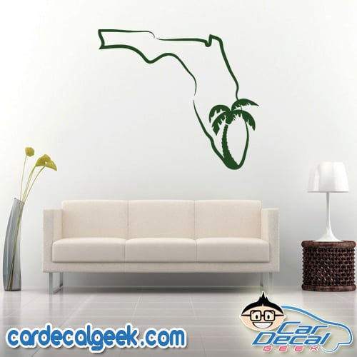 Florida State Outline Palm Tree Wall Decal Sticker
