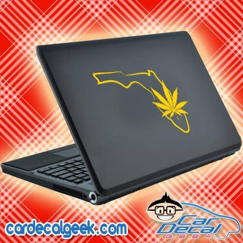 Florida Marijuana Pot Leaf Laptop Decal Sticker