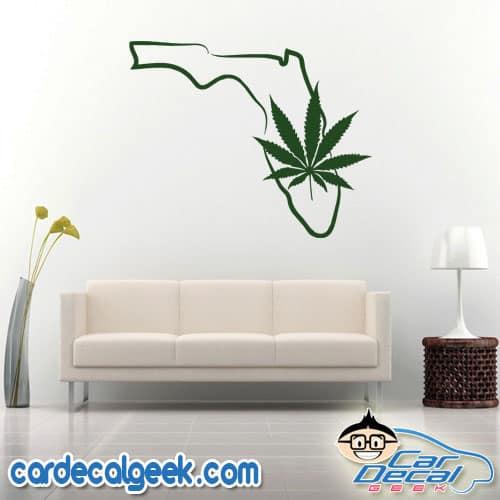 Florida Marijuana Pot Leaf Wall Decal Sticker
