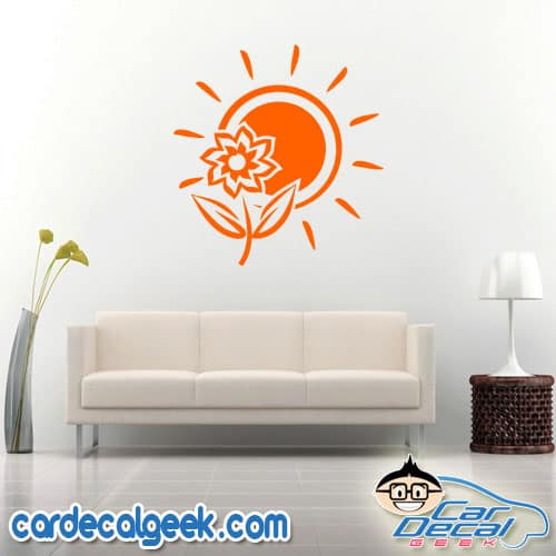 Tropical Sun and Flower Wall Decal Sticker