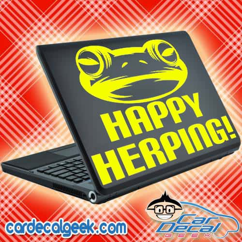 Frog - Happy Herping Laptop Decal Sticker