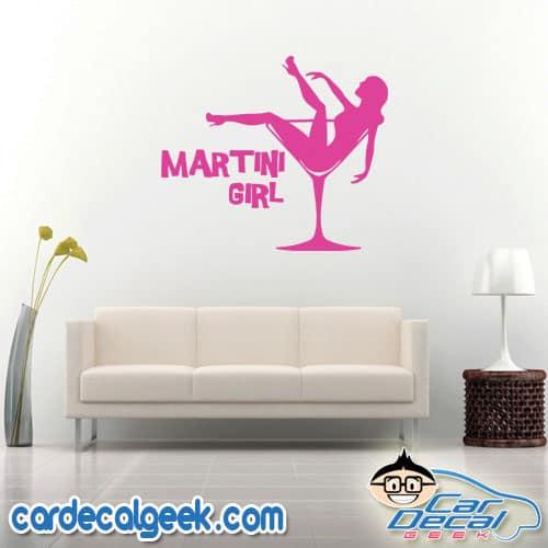 Martini Girl Wall Decal Sticker