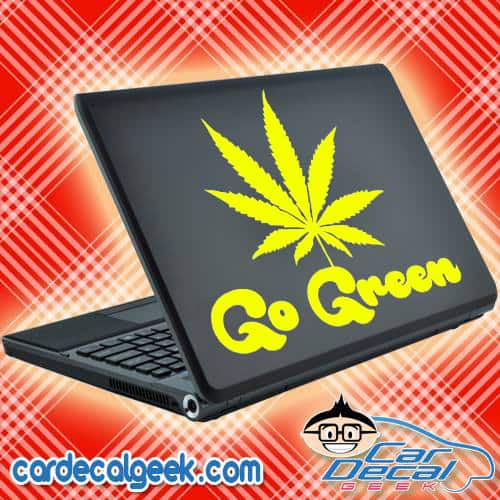 Go Green Marijuana Leaf Laptop Decal Sticker
