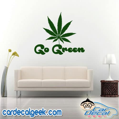 Go Green Marijuana Leaf Laptop Decal Sticker