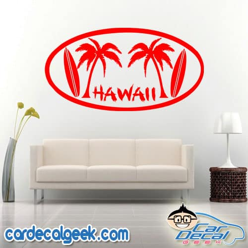 Hawaii Palm Trees and Surfboards Wall Decal Sticker