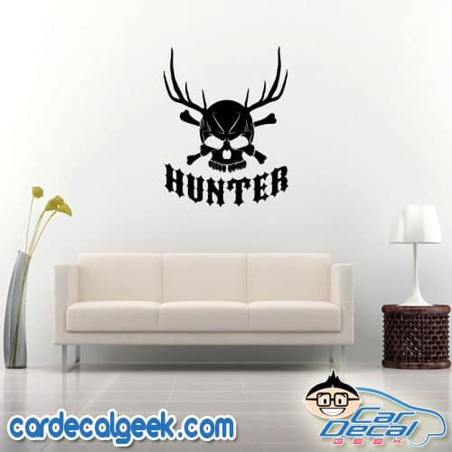 Hunter Skull with Antlers Wall Decal Sticker