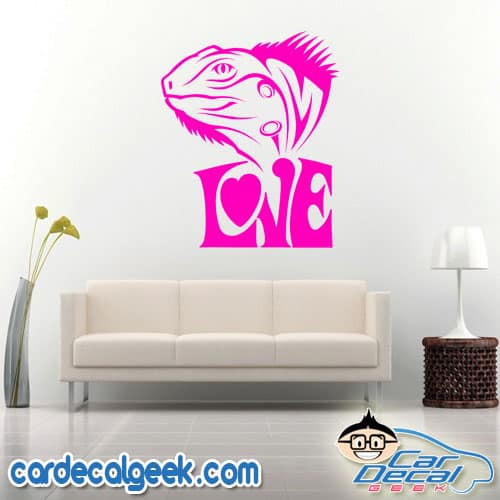Iguana Love Wall Decal Sticker