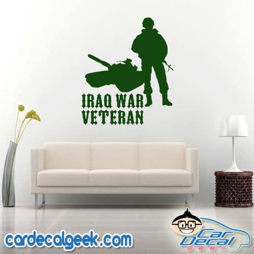 Iraq War Veteran Soldier and Tank Wall Decal Sticker