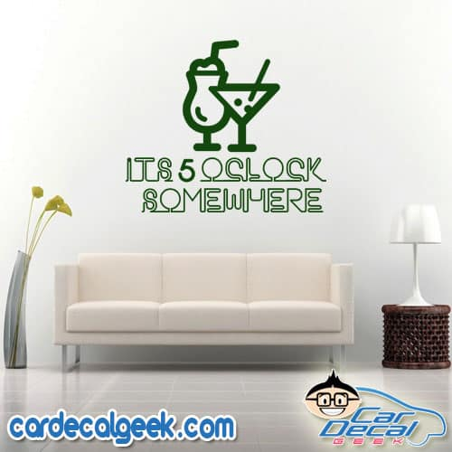 It's 5 O'clock Somewhere Neon Sign Wall Decal Sticker
