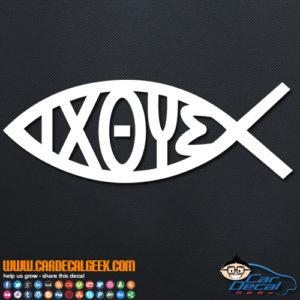 IXOYE Jesus Christian Fish Symbol Decal Sticker