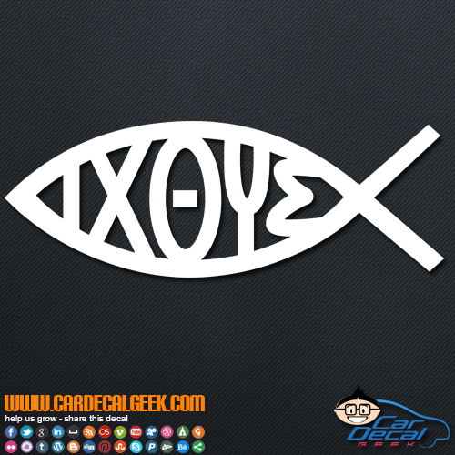 IXOYE Jesus Christian Fish Symbol Decal Sticker