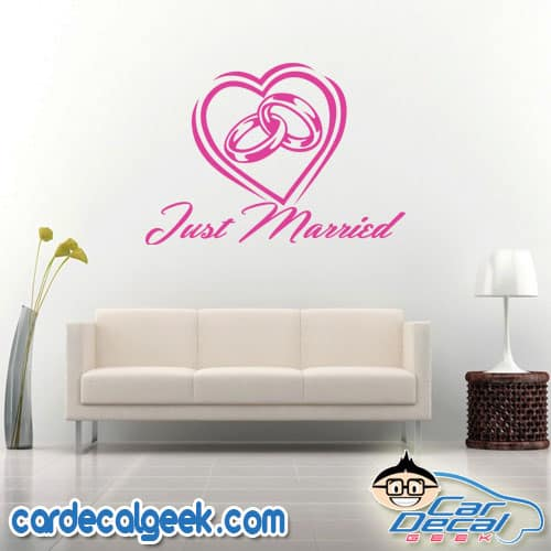 Just Married Wedding Rings Inside a Heart Wall Decal Sticker