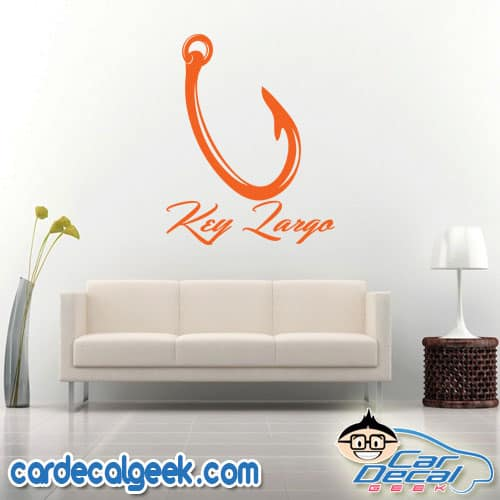 Key Largo Florida Fishing Hook Wall Decal Sticker
