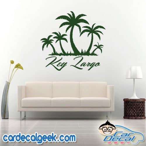 Key Largo Tropical Palm Tree Island Wall Decal Sticker