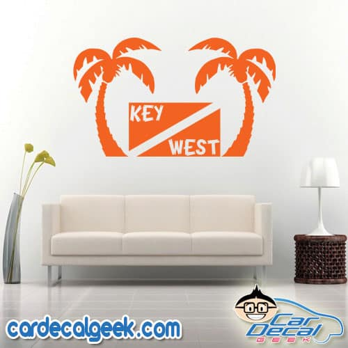 Key West Scuba Dive Flag Palm Trees Wall Decal Sticker
