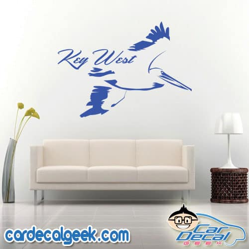 Key West Pelican Bird Wall Decal Sticker