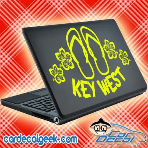 Key West Flip Flop Sandals & Hibiscus Flowers Laptop Decal Sticker