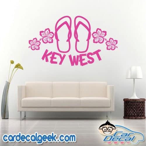 Key West Flip Flop Sandals & Hibiscus Flowers Wall Decal Sticker