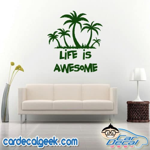 Life is Awesome - Palm Tree Island Wall Decal Sticker