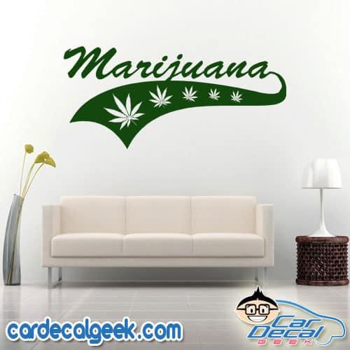 Marijuana Athletic Wall Decal Sticker