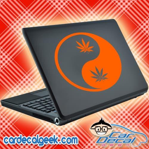 Marijuana Leaf Yin Yang Laptop Decal Sticker
