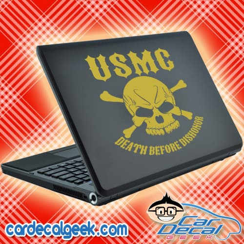 Marines Death Before Dishonor Skull Laptop Decal Sticker