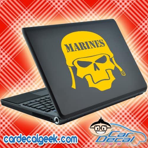 Marines Skull Helmet Laptop Decal Sticker