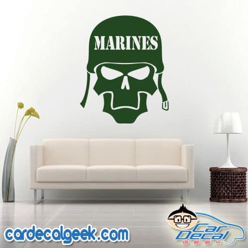Marines Skull Helmet Wall Decal Sticker