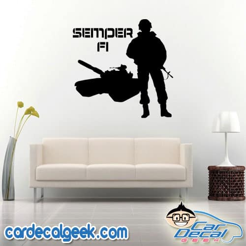 Marine Semper Fi Soldier and Tank Wall Decal Sticker