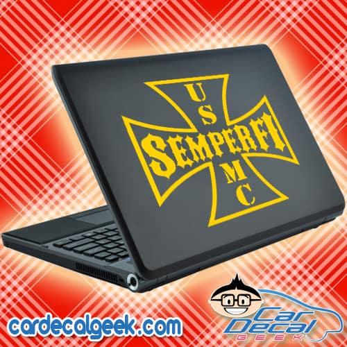 Semper Fi USMC Iron Cross Laptop Decal Sticker