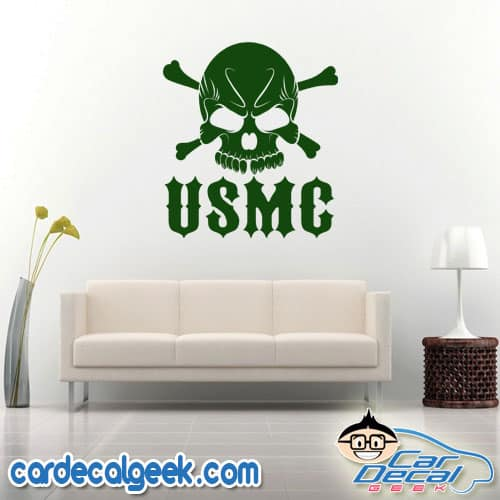 USMC Marines Skull Wall Decal Sticker