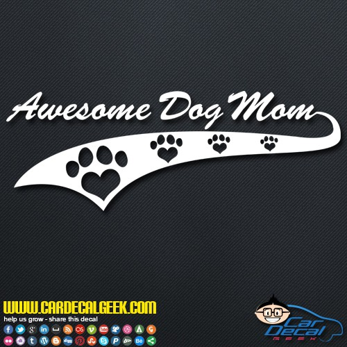 Awesome Dog Mom Athletic Decal Sticker